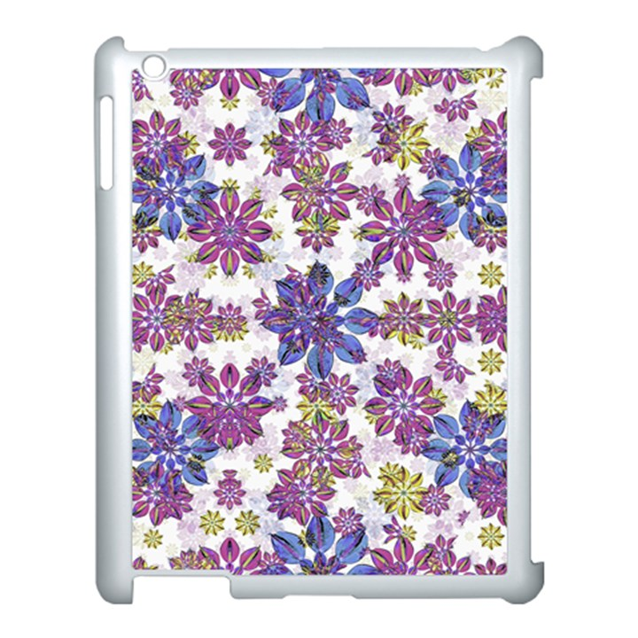 Stylized Floral Ornate Pattern Apple iPad 3/4 Case (White)