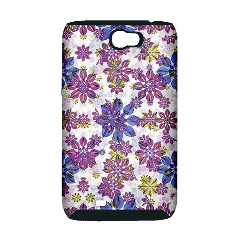 Stylized Floral Ornate Pattern Samsung Galaxy Note 2 Hardshell Case (PC+Silicone)