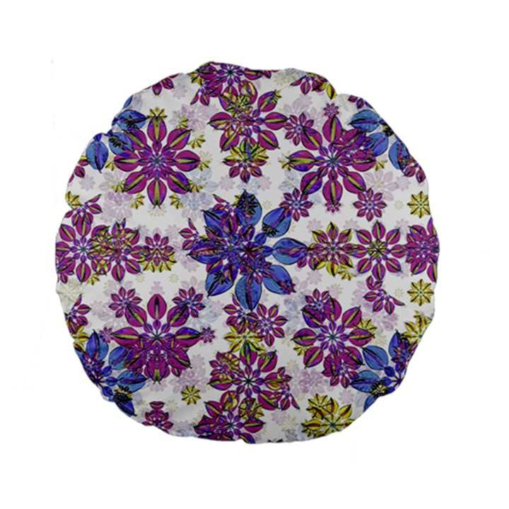 Stylized Floral Ornate Pattern Standard 15  Premium Round Cushions
