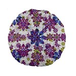Stylized Floral Ornate Pattern Standard 15  Premium Round Cushions Back