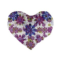 Stylized Floral Ornate Pattern Standard 16  Premium Heart Shape Cushions