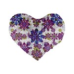 Stylized Floral Ornate Pattern Standard 16  Premium Heart Shape Cushions Front