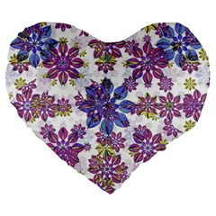 Stylized Floral Ornate Pattern Large 19  Premium Heart Shape Cushions
