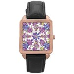 Stylized Floral Ornate Pattern Rose Gold Leather Watch  Front