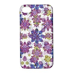 Stylized Floral Ornate Pattern Apple Iphone 4/4s Hardshell Case With Stand