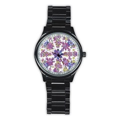 Stylized Floral Ornate Pattern Stainless Steel Round Watch
