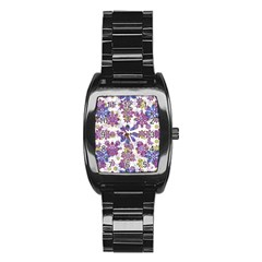 Stylized Floral Ornate Pattern Stainless Steel Barrel Watch