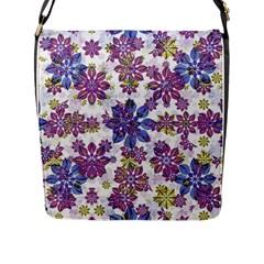 Stylized Floral Ornate Pattern Flap Messenger Bag (l)
