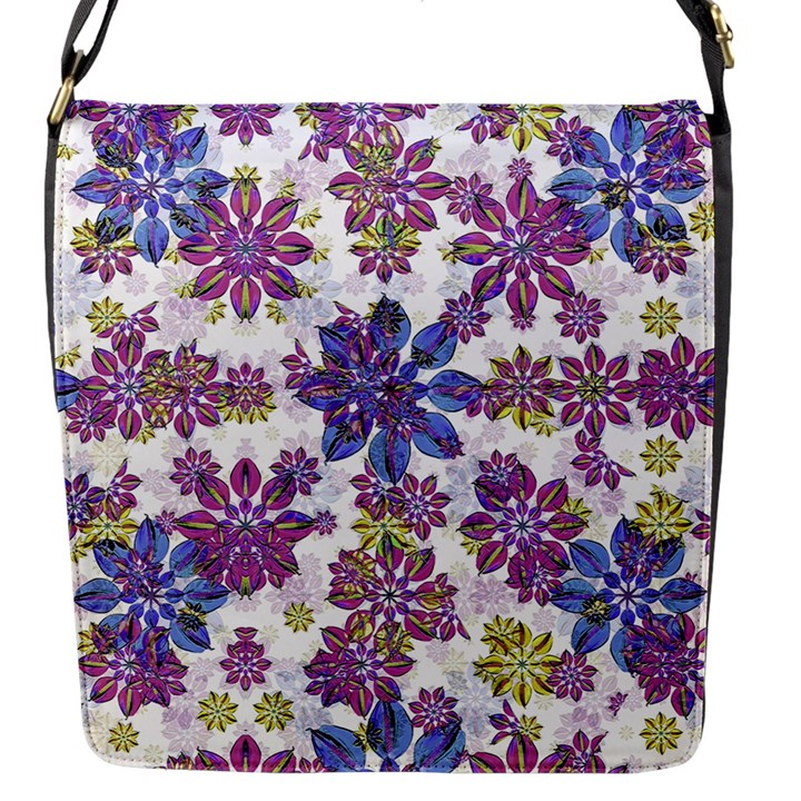 Stylized Floral Ornate Pattern Flap Messenger Bag (S)