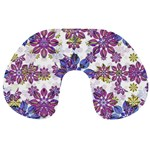 Stylized Floral Ornate Pattern Travel Neck Pillows Back