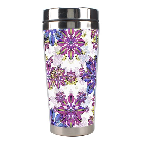 Stylized Floral Ornate Pattern Stainless Steel Travel Tumblers