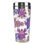 Stylized Floral Ornate Pattern Stainless Steel Travel Tumblers Left