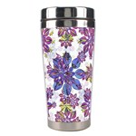 Stylized Floral Ornate Pattern Stainless Steel Travel Tumblers Center