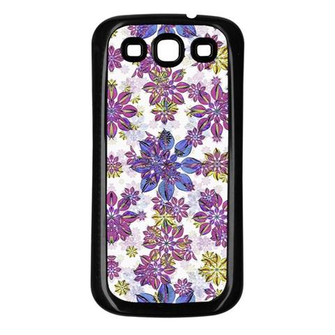 Stylized Floral Ornate Pattern Samsung Galaxy S3 Back Case (Black)