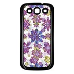 Stylized Floral Ornate Pattern Samsung Galaxy S3 Back Case (Black) Front