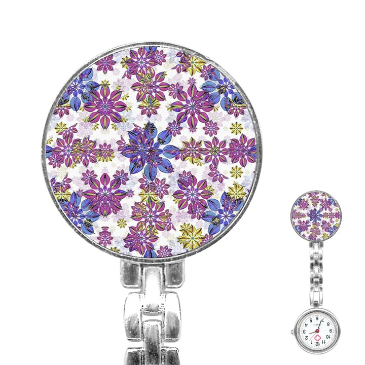 Stylized Floral Ornate Pattern Stainless Steel Nurses Watch