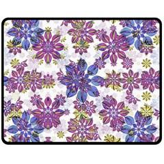 Stylized Floral Ornate Pattern Double Sided Fleece Blanket (Medium)