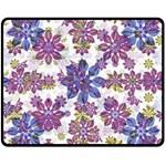 Stylized Floral Ornate Pattern Double Sided Fleece Blanket (Medium)  60 x50 Blanket Back