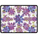 Stylized Floral Ornate Pattern Double Sided Fleece Blanket (Large)  80 x60 Blanket Back