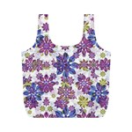 Stylized Floral Ornate Pattern Full Print Recycle Bags (M)  Back