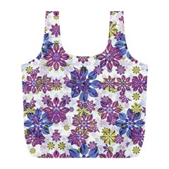Stylized Floral Ornate Pattern Full Print Recycle Bags (l)
