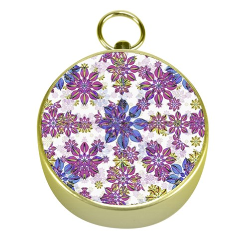 Stylized Floral Ornate Pattern Gold Compasses
