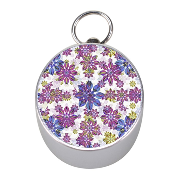 Stylized Floral Ornate Pattern Mini Silver Compasses