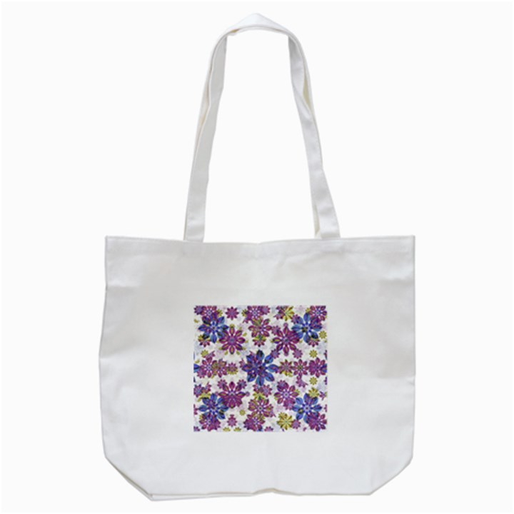 Stylized Floral Ornate Pattern Tote Bag (White)