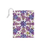 Stylized Floral Ornate Pattern Drawstring Pouches (Small)  Back