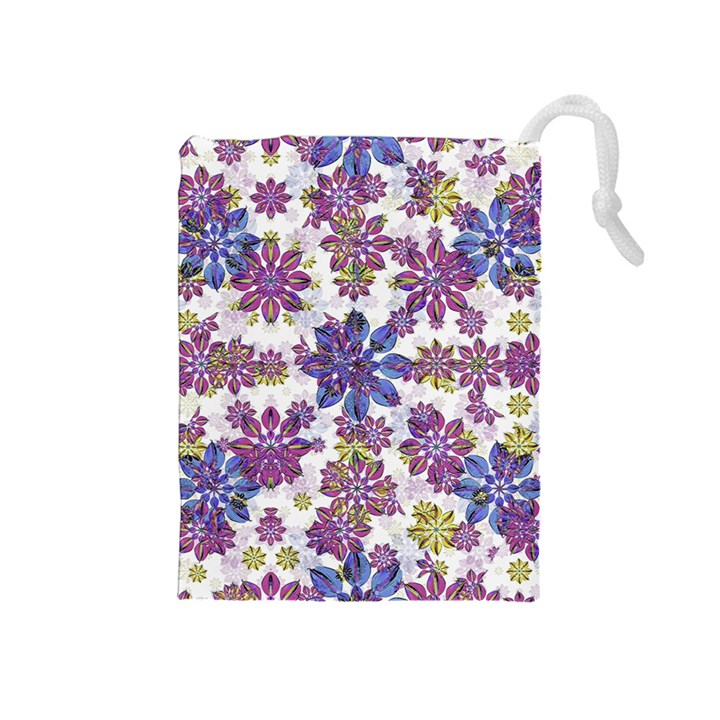 Stylized Floral Ornate Pattern Drawstring Pouches (Medium)