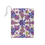 Stylized Floral Ornate Pattern Drawstring Pouches (Medium)  Back