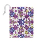 Stylized Floral Ornate Pattern Drawstring Pouches (Large)  Back