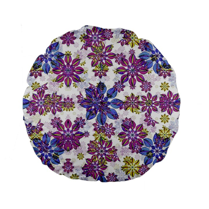 Stylized Floral Ornate Pattern Standard 15  Premium Flano Round Cushions