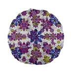 Stylized Floral Ornate Pattern Standard 15  Premium Flano Round Cushions Back