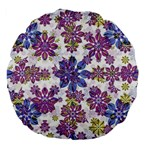 Stylized Floral Ornate Pattern Large 18  Premium Flano Round Cushions Back