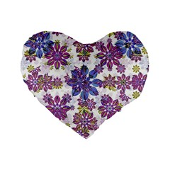 Stylized Floral Ornate Pattern Standard 16  Premium Flano Heart Shape Cushions