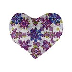 Stylized Floral Ornate Pattern Standard 16  Premium Flano Heart Shape Cushions Back