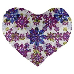 Stylized Floral Ornate Pattern Large 19  Premium Flano Heart Shape Cushions