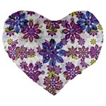 Stylized Floral Ornate Pattern Large 19  Premium Flano Heart Shape Cushions Front
