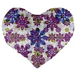 Stylized Floral Ornate Pattern Large 19  Premium Flano Heart Shape Cushions Back