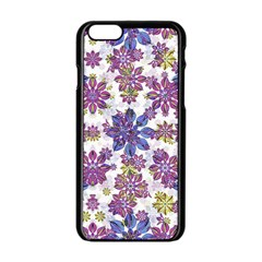 Stylized Floral Ornate Pattern Apple iPhone 6/6S Black Enamel Case