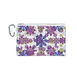 Stylized Floral Ornate Pattern Canvas Cosmetic Bag (S) Front
