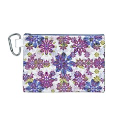 Stylized Floral Ornate Pattern Canvas Cosmetic Bag (M)