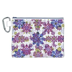 Stylized Floral Ornate Pattern Canvas Cosmetic Bag (l)