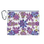 Stylized Floral Ornate Pattern Canvas Cosmetic Bag (L) Front