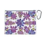 Stylized Floral Ornate Pattern Canvas Cosmetic Bag (L) Back