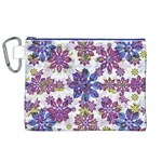 Stylized Floral Ornate Pattern Canvas Cosmetic Bag (XL) Front