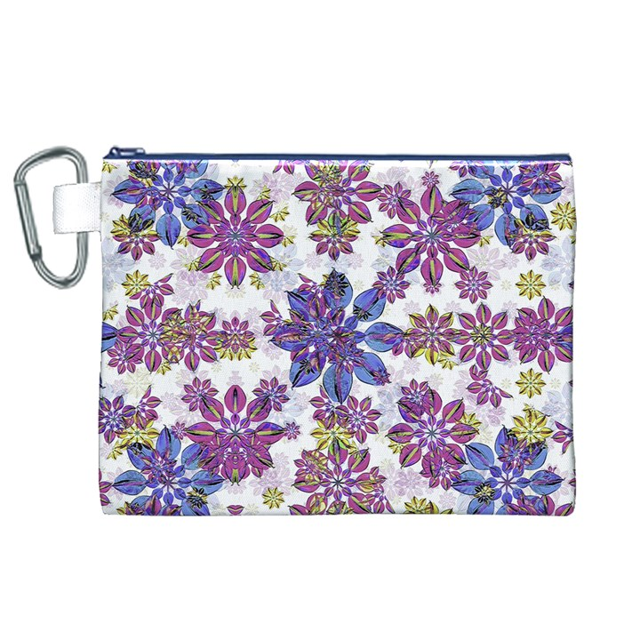 Stylized Floral Ornate Pattern Canvas Cosmetic Bag (XL)