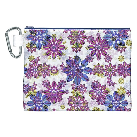 Stylized Floral Ornate Pattern Canvas Cosmetic Bag (XXL)