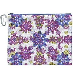 Stylized Floral Ornate Pattern Canvas Cosmetic Bag (XXXL)